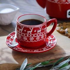 5.99 Red and White Deer Coffee Cup with Saucer Christmas Coffee, Christmas Time, Red Christmas, Diy Christmas Gifts For Parents, Chocolate Pies, Blended Coffee, Coffee Cups, Cozy Coffee, Coffee Shop