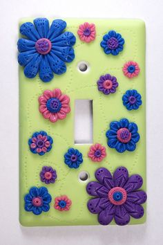 Glow in the Dark Switch Plate - The Blue Bottle Tree Polymer Clay Canes, Polymer Clay Projects, Clay Crafts, Switch Plate Covers, Switch Plates, Biscuit, Clay Wall Art, Play Clay, Blue Bottle