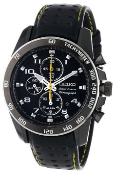 Seiko Sportura Black Dial Black Leather Band Mens Watch >> $221.29 << | Your #1 Source for Watches and Accessories
