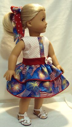 American girl 4th of July dress  or other 18 inch dolls   RED White and Blue