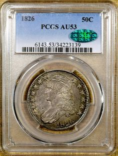 1826 O-116A PCGS AU53 Capped Bust Half Dollar - CAC Stickered - Rainbow Toning