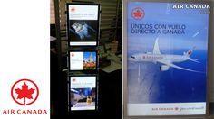 La aerolínea Air Canada también ahora tiene los beneficios de los avisos LED para ser más llamativa y vender más vuelos a Canadá. Mire todos los modelos de portacarteles LED en http://www.NegoLuz.co