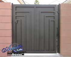 Linear designed wrought iron gate