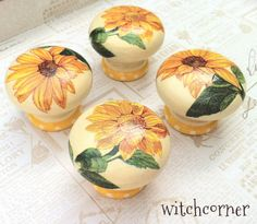 Wooden door knob made with sunflowers  45 mm  for by witchcorner, £5.00