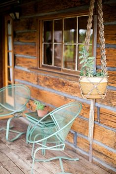 vintage chairs on a cabin porch