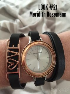 Origami Owl Watch Challenge Day #21 - Large Silver Watch Base ($44) - Large Rose Gold Heirloom Living Locket Face ($16) - Black Genuine Leather Triple Wrap ($20) - Love Expression Frame ($14)