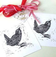 Lino Cut Wren Bird Print Inkmeup Signature  Wren Lino by inkmeup, £12.00