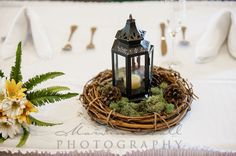 Forest themed centerpieces #forest #wedding