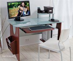 Veneer & Tempered Glass Work Station Office Desk, Corner Desk, Glass, House, Furniture, Ideas, Home Decor, Corner Table, Desk Office