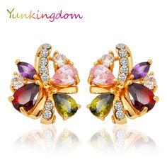 Yunkingdom New Hot Colorful  zircon crystal Gold Plated Butterfly Flowers Chic Ear Hoop Charm Earrings Women Jewelry ALP0118