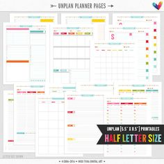 FP UNplan Planner Page Printables PDF - x Filofax Personal Page Inserts - daily docket weekly docket undated calendars CAD) by MissTiina 2015 Planner, Happy Planner, Planner Ideas, Year Planner, Blog Planner, Monthly Planner, Printable Planner Pages, Planner Stickers, Free Printables