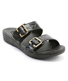 Look at this #zulilyfind! Black Tolliva Tooled Sandal #zulilyfinds
