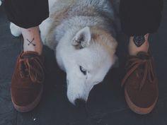 husky dog puppy tattoo man feet