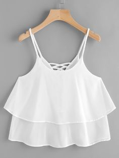 Shop Layered Criss Cross Back Cami Top online. SheIn offers Layered Criss Cross Back Cami Top & more to fit your fashionable needs. Cute Girl Outfits, Cute Summer Outfits, Cute Casual Outfits, Pretty Outfits, Girls Fashion Clothes, Teen Fashion Outfits, Girl Fashion, Crop Top Outfits, Crop Top Shirts