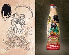 Bicentenario México. Edición conmemorativa de Coca-Cola. Arte por artista mexicano Cesar Nandez. http://cesarnandez.blogspot.mx/