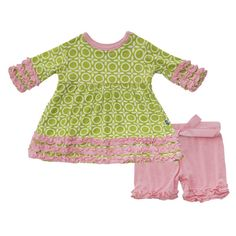 Print Short Sleeve Babydoll Outfit Set in Meadow Flower Lattice - Outfit Sets
