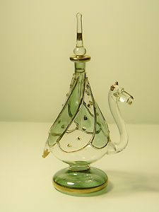 Gorgeous Mouth Blown Egyptian Glass Camel Perfume Bottle Green and Gilt