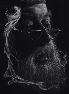 Pencil Portrait Mastery - Just white pencil on black paper. - Discover The Secrets Of Drawing Realistic Pencil Portraits
