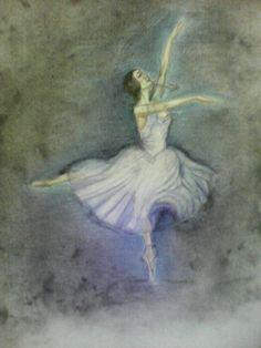 Χορευτική φιγούρα μπαλέτου, (υλικά ζωγραφικής καρβουνο, μολύβι, ξυλομπογία)