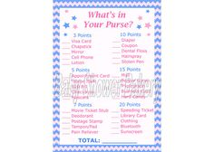 Gender Reveal Party Game, What's in Your Purse Game, Gender Reveal Shower Printable, Star Theme Gender Reveal Party, Pink and Blue Shower Gender Reveal Party Games, Baby Shower Gender Reveal, Reveal Parties, Gender Party, Baby Shower Bingo, Baby Shower Printables, Girl Shower, Baby Owls, Baby Elephant