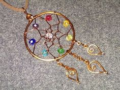 heart pendants with colored crystal beads - How to make wire jewelry 201 - YouTube