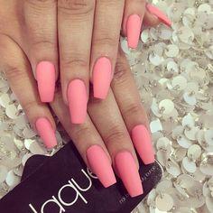 Nails by: Laque' Nail Bar Matte Pink Nails, Purple Acrylic Nails, Peach Nails, Coral Nails, Pastel Nails, Purple Nail, Perfect Nails, Gorgeous Nails, Pretty Nails