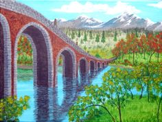 REDUCED ORIGINAL Stone Arch Bridge Acrylic by ABrushOfLife on Etsy