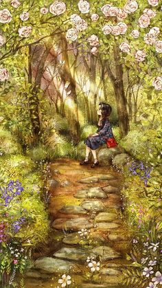 I walked into the flower garden with wintery white flowers. I was so happy to greet butterflies and flowers with warm sunlight. Fantasy Magic, Fantasy Art, Pretty Art, Cute Art, Forest Girl, Korean Art, Illustration Girl, Garden Illustration, Anime Art Girl