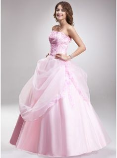 Ball-Gown Sweetheart Floor-Length Organza Lace Quinceanera Dress With Ruffle Beading