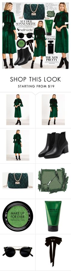 """""""Velvet Green Dress"""" by vanjazivadinovic ❤ liked on Polyvore featuring Narciso Rodriguez, Surratt, MAKE UP FOR EVER, Neville, Monique Lhuillier, Sheinside, partydress and polyvoreeditorial"""