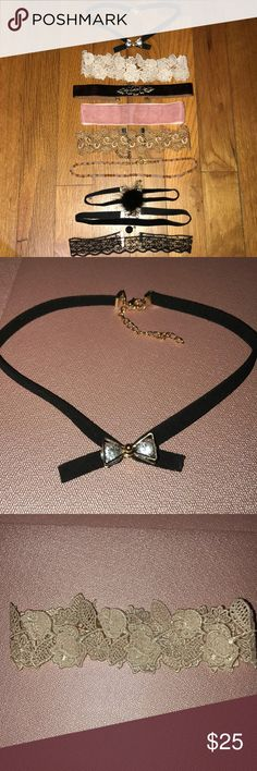 Chokers 9 different chokers with adjustable backings. Not sold separately. Jewelry Necklaces