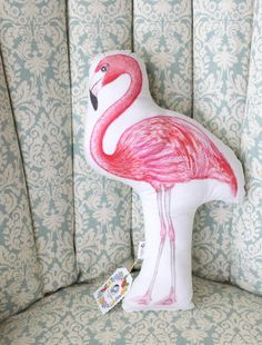 Flamingo pillow. Tropical decor. Gift for women. by MartaDalloul