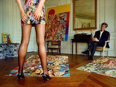 Woman standing near a collage- By William Albert Allard