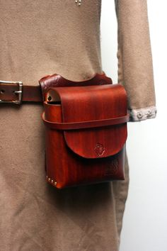 Brown Rose Leather Pouch by Versalla on Etsy