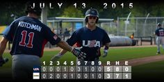 July 13 - Baseball - Preliminary Round.  USA uses three longballs to blast past Colombia, 5-3.