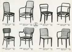 Here are some simply and simple beautiful chairs made in the 1930s by Thonet, long the leading manufacturer of bentwood furniture.