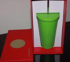 STARBUCKS - Matte Green - STAINLESS COLD CUP / Tumbler *w/ METAL STRAW 2014 NEW #Starbucks