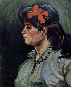 Van Gogh, Portrait of a Woman with Red Ribbon, December 1885. Oil on canvas, 60 x 50 cm. Private collection.