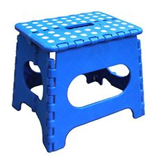 Jeronic 11 Inches Super Strong Folding Step Stool for Adults and Kids, Blue Kitchen Stepping Stools, Garden Step Stool, holds up to 300 LBS Metal Step Stool, Step Stools, Portable Stool, Portable House, Kids Stool, Patterned Armchair, Small Stool, Stool Chair, Sons