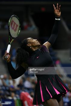 #Serena #SerenaWilliams #USOpenTennis2016 #tennis Serena Williams of the United States serves to Ekaterina Makarova of Russia during her first round Women's Singles match on Day Two of the 2016 US Open at the USTA Billie Jean King National Tennis Center on August 30, 2016 in the Flushing neighborhood of the Queens borough of New York City.