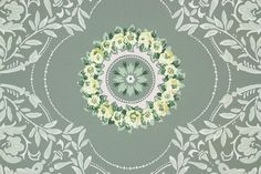 1950s Vintage Wallpaper Yellow and Pink Floral Medallion
