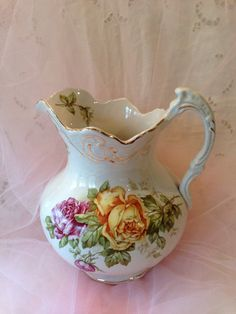 Antique BUFFALO POTTERY Porcelain Pitcher w/ Yellow & Red ROSES $35
