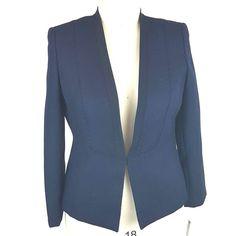 Tahari Blazer Navy SIZE 14 Jacket Fitted VINCE Chevron Weave Collarless #Tahari #Blazer