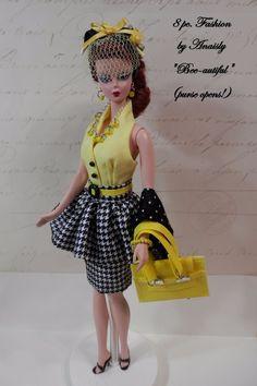 OOAK Barbie Silkstone Vintage Repro 8pc Fashion SHEATH PEPLUM FASCINATOR + Lot #NewHandmade