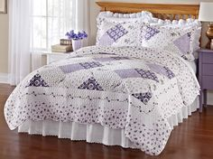 Beautiful Lavender Purple 3 PC Full Queen Size Spring Summer Quilt Set New   eBay