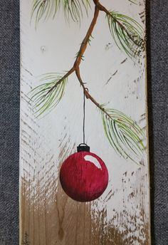 Weihnachts-Dekor Palette Weihnachten Kunst Each piece is an original hand painted pine branch and bulb on a unique, one-of-a-kind piece of tan and burgundy old fencing. This unique piece is appx. Christmas Palette, Pallet Christmas, Christmas Canvas, Noel Christmas, Christmas Paintings, Christmas Signs, Christmas Projects, Holiday Crafts, Christmas Bulbs