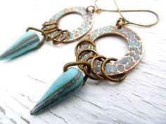 Turquoise Teardrop Glass and Brass Dangle by ChelseaGirlDesigns, $24.00