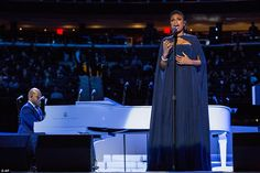Jennifer Hudson sang a powerful rendition of Hallelujah and drew cheers from the crowd, while several Broadway actors performed in a show hosted by Martin Sheen