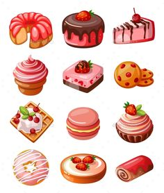 Illustration about Vector set of icons decorative cakes, biscuits and sweets. Illustration of icon, chocolate, delicious - 78943137 Cute Food Drawings, Kawaii Drawings, Cute Food Art, Cute Art, Illustration Dessert, Et Wallpaper, Desserts Drawing, Food Icons, Cute Desserts