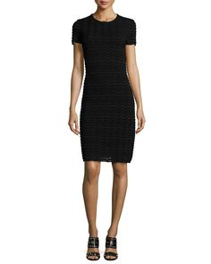 Short-Sleeve Wave-Mesh Sheath Dress, Women's, Size: X-LARGE, Black - Tory Burch
